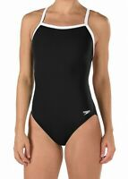 Speedo Womens Swimwear Black White 12 /38 Endurance+ Flyback Swimsuit $69 569