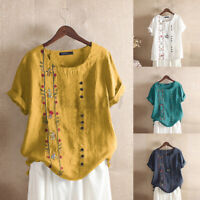 Women Linen Cotton Vintage Shirt Tops T-Shirt Tee Floral Embroidery Blouse S-5XL