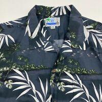 RJC Ltd Button Up Shirt Men's 2XL XXL Short Sleeve Blue Hawaiian Theme Casual