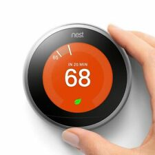Certified Google Nest 3rd Gen Learning Thermostat w/Base Stainless Steel T3007ES