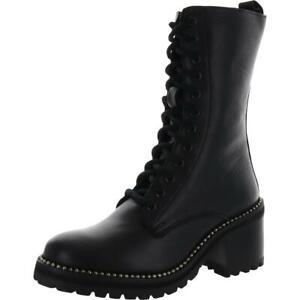 Steve Madden Womens Strata-S Black Combat Boots Shoes 7 Medium (B,M) BHFO 6625