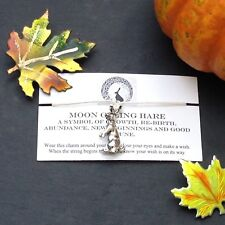 Silver Moon Gazing Hare Handmade Wish Bracelet Wicca Unique Pagan Gift Charm