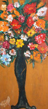 EXPRESSIONIST STILL LIFE WITH FLOWERS OIL PAINTING SIGNED