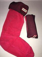 Hunter Boot Socks Tall Black/Watermelon Ribbed Size L New In Box