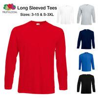 Fruit Of The Loom T-Shirt Boys Long Sleeve T Shirt Plain Tee Top Ages 3 - 15