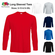 Fruit Of The Loom T-Shirt Boys Long Sleeve T Shirt Plain Tee Top Ages 3 - 15