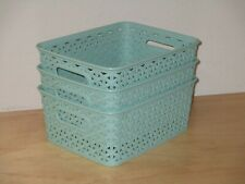 Room Essentials Green Storage Weave Baskets Lot of 3 Pieces Plastic Brand New