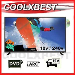 "LINSAR 24"" FULL HD 1080p DIGITAL LED TV w DVD PLAYER USB PVR 12v 240v CARAVAN"