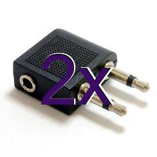 [2 pack] 3.5mm Stereo Jack Socket to Twin Mono Plugs Aeroplane Adapter [005791]