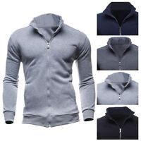 HOT Plain Mens Fleece Zip Up Hoody Jacket Sweatshirt Hooded Zipper Tops 4 Colors