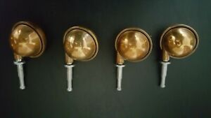 """Vintage Brass/Metal Ball Caster Set of 4 - 2"""" Dia Ball, Overall 3 1/2"""" Height"""