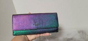 COACH Hologram Iridescent Oil Slick Holographic Leather Rainbow ORIGINAL Wallet