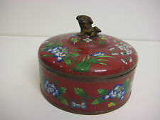 Vintage Chinese Cloisonne Enamel Copper Trinket Box W/Lid Bronze Foo Dog Handle