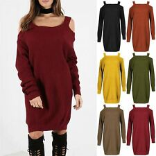 Womens Ladies Chunky Knit Open Cold Shoulder Wide Strap Baggy Jumper Mini Dress