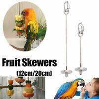 Stainless Steel Bird Parrot Cage Skewer Food Meat Stick Spear Fruit Holder Lot