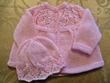 Baby Jacket & HatSet  Hand Knitted 0-6 Months Baby Pink