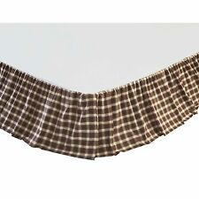 Rory King Bed Skirt Windowpane Plaid Farmhouse Rustic Cabin Country Brown/Creme