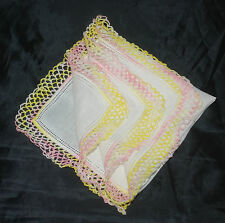 vintage handkerchief Hand Crochet Hanky pink and yellow Pretty Thing estate