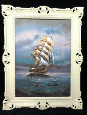 CUADRO BARCO DE VELA MAR schiffsbilder seestück MARÍTIMO Blanco Barcos 90x70
