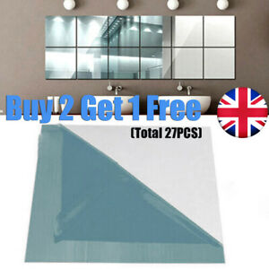 9PC Glass Mirror Tiles Wall Sticker Square Self Adhesive Stick Home Decor On Art