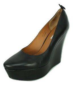 & Other Stories Wedge Black Leather Shoes UK7 EU39