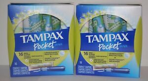 2 Tampax Pocket Pearl Compact Tampons Super Leakguard Protection 16 Tampons