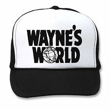 WAYNE'S WORLD HAT Black White Mesh TRUCKER Cap WAYNE GARTH 90s HALLOWEEN COSTUME
