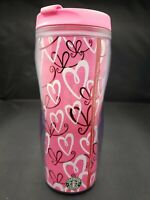 Starbucks Travel Mug Hearts Tumbler 16 oz Pink Shiny Red 2006 New/Old