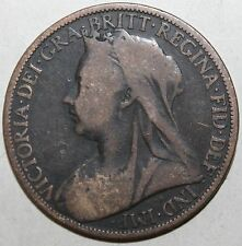 British Large Penny Coin 1900 - KM# 790 Victoria Britain UK United Kingdom One 1