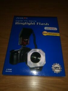 zeikos digital TTL macro ringlight flash for canon e-ttl 1/e-ttl 2 (new in box)