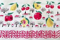"Vintage FRUIT & VILLAGE TABLECLOTH 67"" x 51"" Made In Japan NEW OLD STOCK"