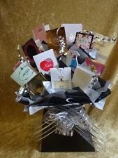 Black & Silver Box Set Perfume Flower Bouquet Samples Ribbon Bow Birthday Gift
