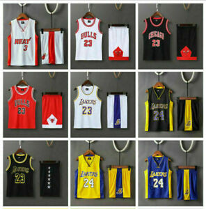 Kids Boys Lakers  #24 #23 Basketball Jersey Sport Training Tank Vest Shirt Kit