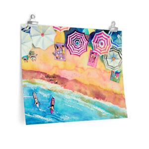 "Colorful Day at the Beach Premium Matte horizontal print poster 24"" x 18"""