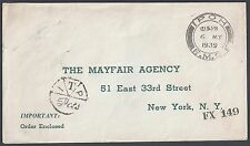MALAYSIA US 1939 IPOH FMS DATED 6 MY 1939 TO NEW YORK CITY 50ctc POSTAGE DUE MAR