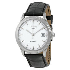longines Flagship Automatic White Dial Black Leather Mens Watch L48744122