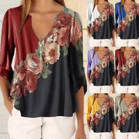Women Long Sleeve V-Neck Flower Chiffon Blouse Shirt Ladies Top T-Shirt 57UK