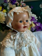 "Vintage 1930'S 25"" Composition Baby Doll In Antique Dress And Bonnet Effanbee?"