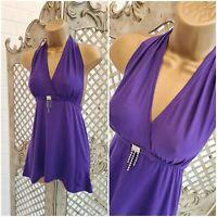 DOLCE & GABANNA 💋 UK M Purple Diamanté  Fit & Flare Halter Top ~Free Postage~