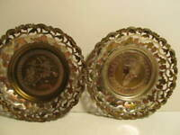 """Vintage Pair Egyptian Wall Plates Plaques Brass Copper 9 ½"""" Home Decor"""