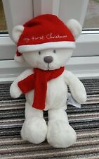 Mothercare White My First Christmas Bear Teddy Comforter Soft Hug Toy RARE hat