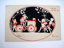 "Vintage ""Molly Brett"" Postcard w/ Frog on Ice Cream Bike Selling to Gnome *"