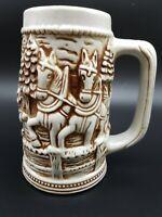 VTG Ceramic Beer Stein Mug 3D Brown & White Horses & Wagon w Snow Capped Trees