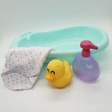 """Perfectly Cute My Lil Baby Bath Set for 8"""" Baby: Tub Hooded Towel Shampoo Bottle"""