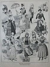 Nuotare, Baden, vita da bagno, moda, Spiaggia-Bagni. L. BECHSTEIN 1887