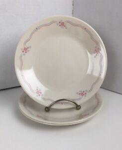 "3 VTG Corelle Corning English Breakfast Pink Blue Floral Dessert Plates 6 3/4"""