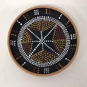 Hand Painted Aboriginal Australian Dot Painting Pottery Plate Souvenir #565