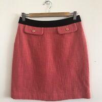 David Lawrence Woven / Tweed Textured Midi Skirt, 8, Vintage Style, Coral, Retro
