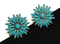 Vintage SANCREST R Faux Turquoise Stone Clip Back Earrings Southwest Starbust
