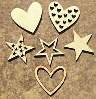 Wooden Star Heart Craft Shapes Wedding Table Confetti Decoration Wood Shapes